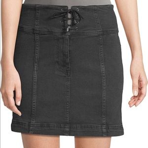 New Free People Modern Femme Lace-up Black Skirt